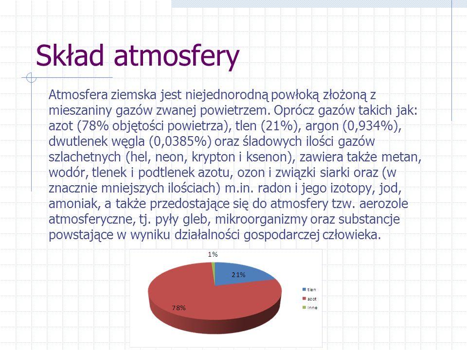 Skład atmosfery Atmosfera ziemska jest niejednorodną powłoką złożoną z mieszaniny gazów zwanej powietrzem. Oprócz gazów takich jak: azot (78% objętośc