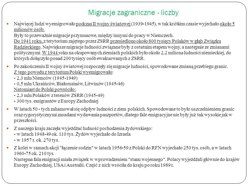 Migracje zagraniczne - liczby Najwięcej ludzi wyemigrowało podczas II wojny światowej (1939-1945), w tak krótkim czasie wyjechało około 5 milionów osó