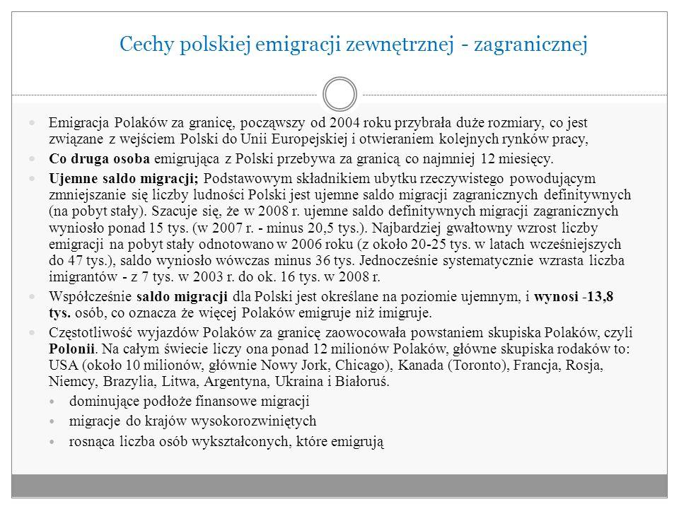 Cechy polskiej emigracji zewnętrznej - zagranicznej Emigracja Polaków za granicę, począwszy od 2004 roku przybrała duże rozmiary, co jest związane z w