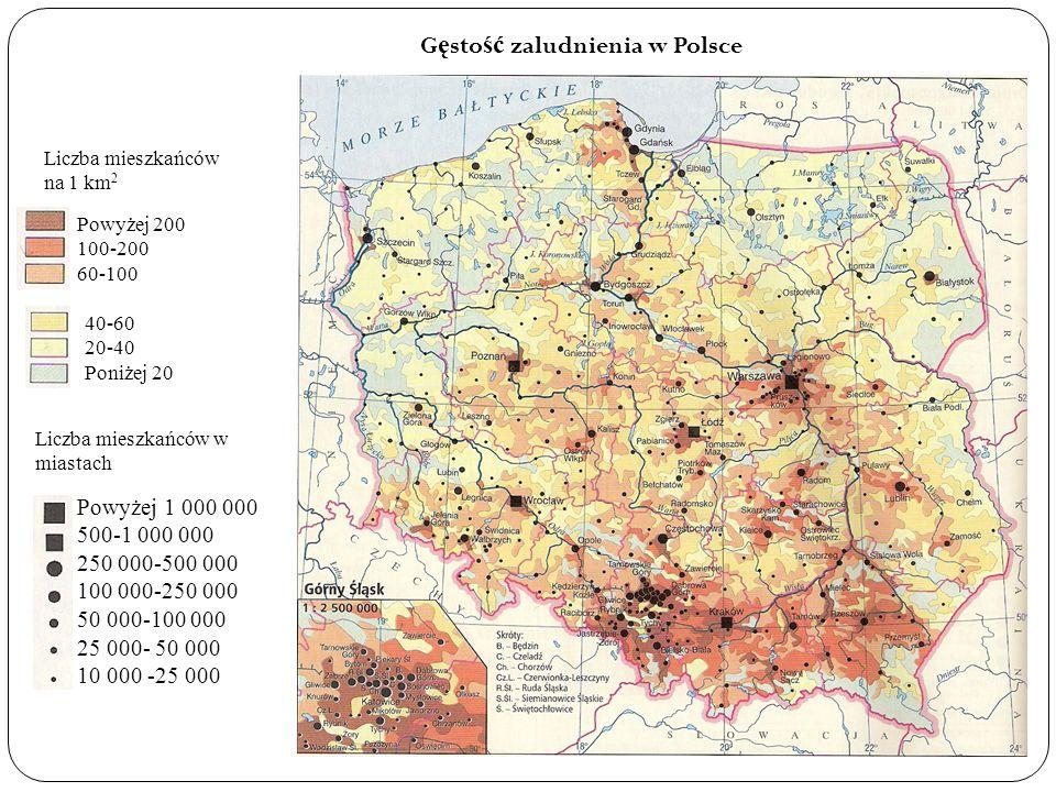 Najgęściej zaludnione są województwa centralnej i południowej część kraju: Śląskie - 398 osób na km 2 Małopolskie - 212 osób na km 2 Dolnośląskie - 150 osób na km 2 Łódzkie - 147 osób na km 2 Mazowieckie - 142 osób na km 2 Najsłabiej zaludnione są województwa wschodnie i północne: Warmińsko - Mazurskie - 60 osób na km 2 Podlaskie - 61 osób na km 2 Lubuskie - 73 osób na km 2 Zachodniopomorskie - 76 osób na km 2 Lubelskie - 89 osób na km 2 Przyczyny niskiej gęstości zaludnienia: słaby rozwój miast i przemysłu słabe warunki naturalne - niekorzystne dla rolnictwa (zbielicowane gleby, urozmaicona rzeźba terenu, krótki okres wegetacji, dużo jezior, duża lesistość) Przyczyny wysokiej gęstości zaludnienia: warunki naturalne (rozmieszczenie surowców, zasoby wodne, warunki klimatyczne, gleby) warunki polityczne i społeczne Czynniki kształtujące wielkość zaludnienia: przyrost naturalny czyli różnica pomiędzy liczbą urodzeń żywych, a liczbą zgonów w danym okresie.