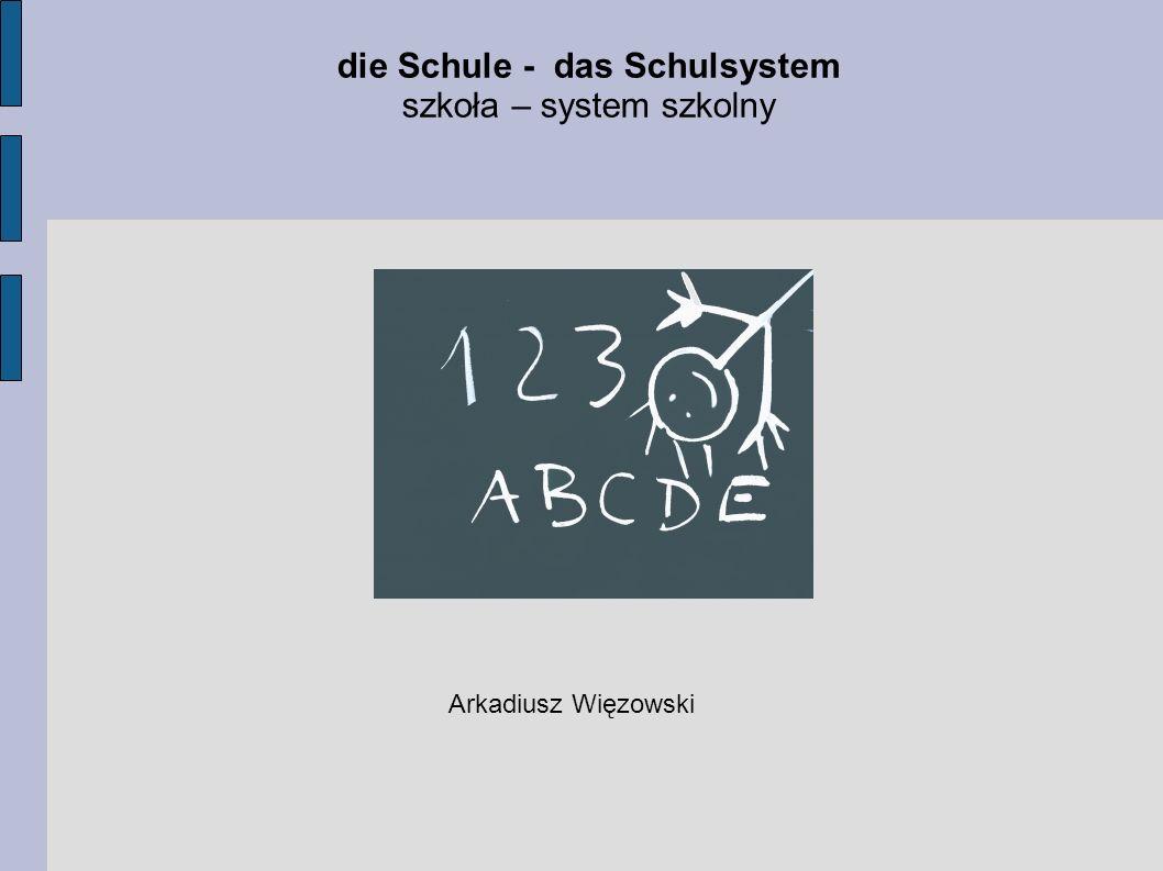 Dzisiejsza lekcja ma na celu: - zapoznanie nas ze słownictwem związanym z tematem Schule - szkoła, - zapoznanie nas z nazwami przedmiotów szkolnych w języku niemieckim, - oraz przybliżenie nam niemieckiego systemu szkolnego.