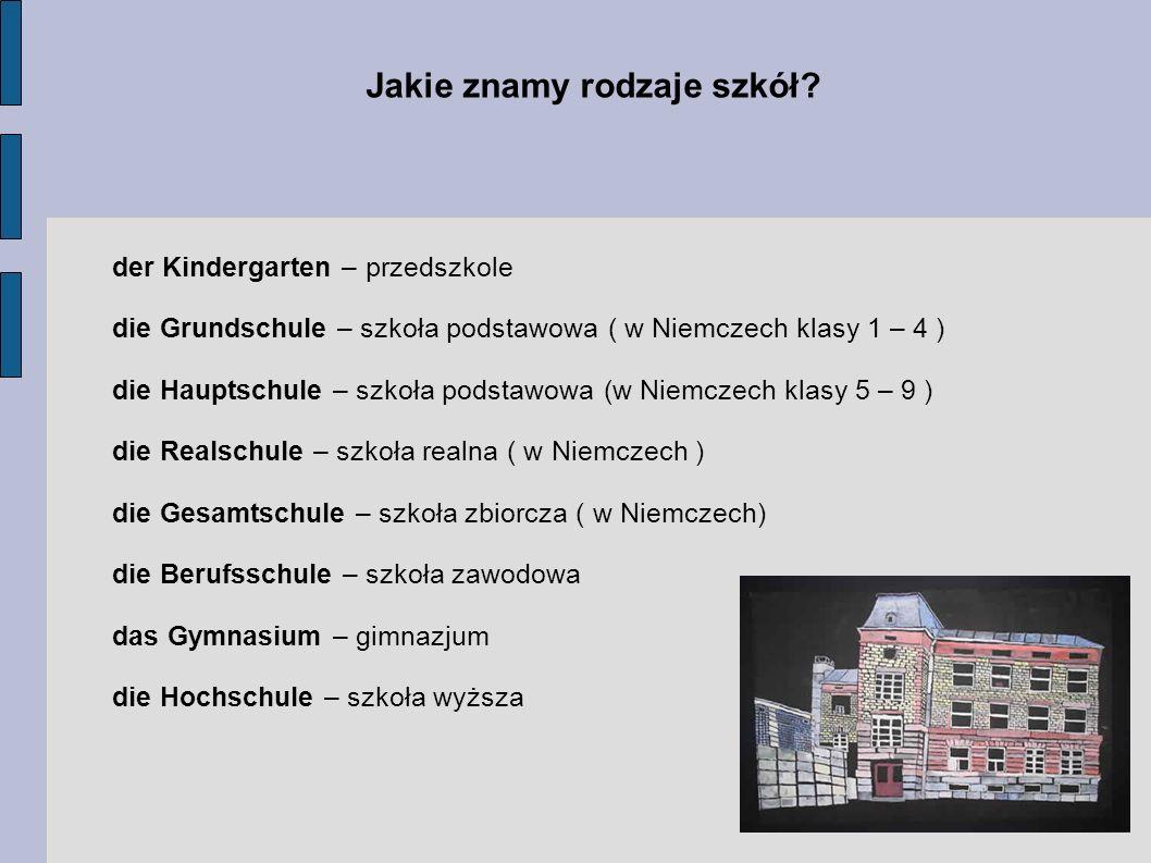 Jakie znamy rodzaje szkół? der Kindergarten – przedszkole die Grundschule – szkoła podstawowa ( w Niemczech klasy 1 – 4 ) die Hauptschule – szkoła pod