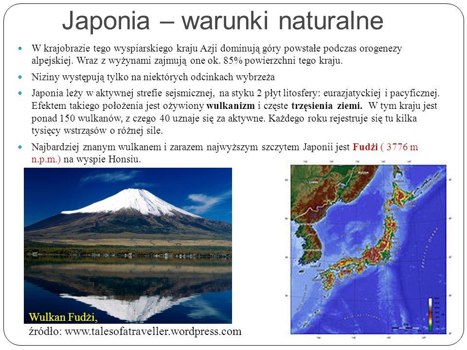 Japonia – warunki naturalne W krajobrazie tego wyspiarskiego kraju Azji dominują góry powstałe podczas orogenezy alpejskiej. Wraz z wyżynami zajmują o