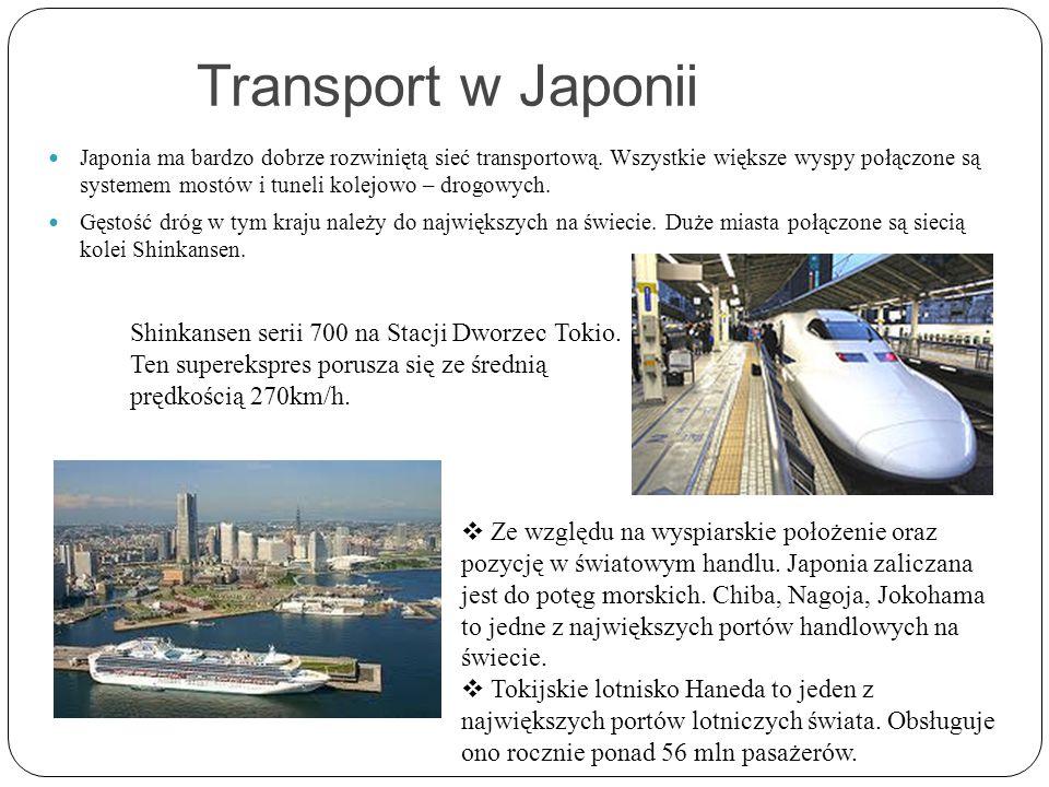 Transport w Japonii Japonia ma bardzo dobrze rozwiniętą sieć transportową. Wszystkie większe wyspy połączone są systemem mostów i tuneli kolejowo – dr