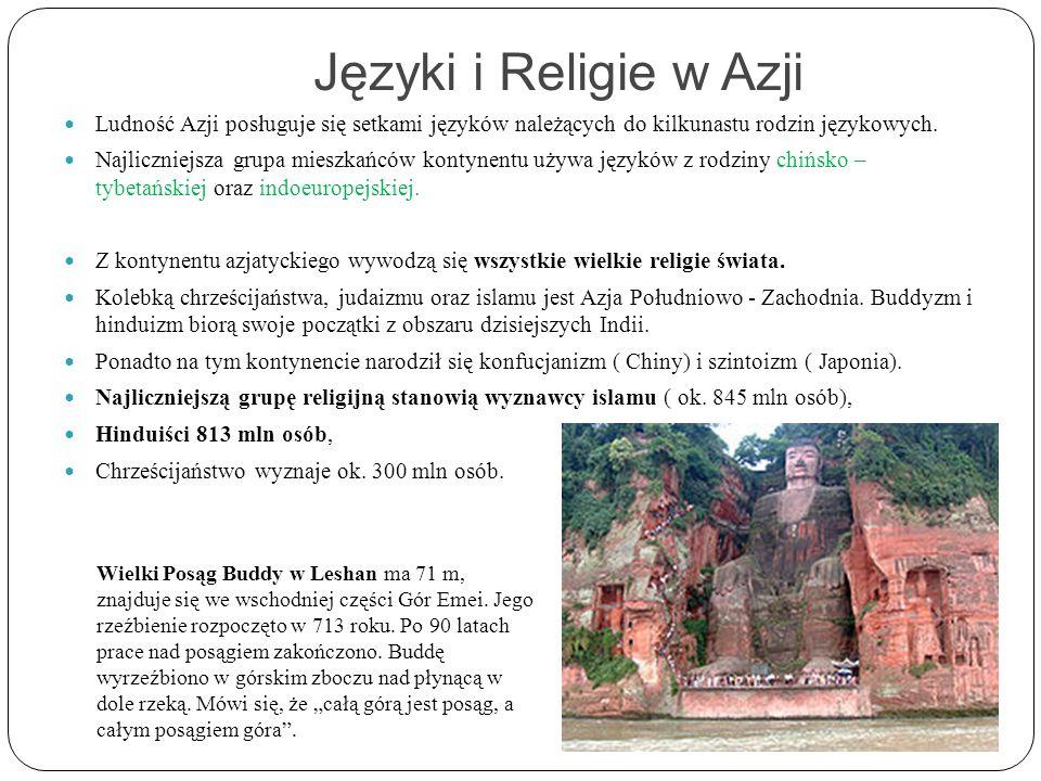 Języki i Religie w Azji Ludność Azji posługuje się setkami języków należących do kilkunastu rodzin językowych. Najliczniejsza grupa mieszkańców kontyn