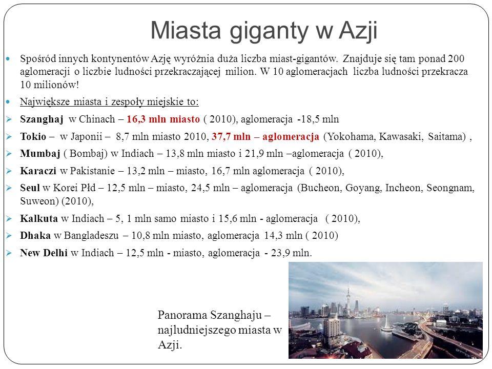 Miasta giganty w Azji Spośród innych kontynentów Azję wyróżnia duża liczba miast-gigantów. Znajduje się tam ponad 200 aglomeracji o liczbie ludności p