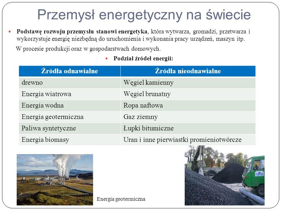 Przemysł energetyczny na świecie Podstawę rozwoju przemysłu stanowi energetyka, która wytwarza, gromadzi, przetwarza i wykorzystuje energię niezbędną do uruchomienia i wykonania pracy urządzeń, maszyn itp.