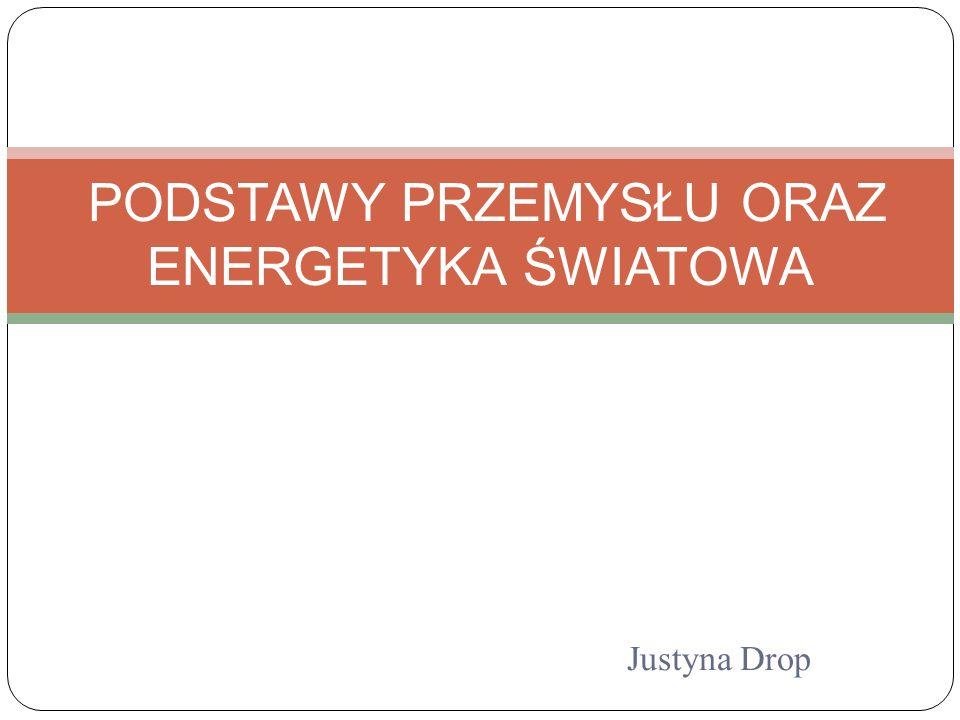 Justyna Drop PODSTAWY PRZEMYSŁU ORAZ ENERGETYKA ŚWIATOWA