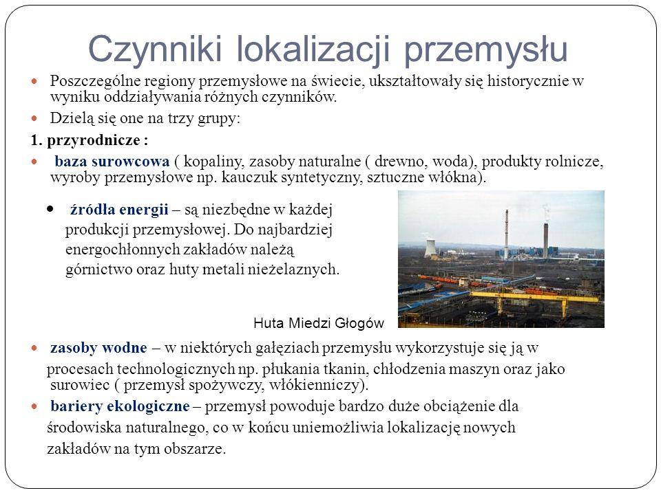 Czynniki lokalizacji przemysłu Poszczególne regiony przemysłowe na świecie, ukształtowały się historycznie w wyniku oddziaływania różnych czynników.