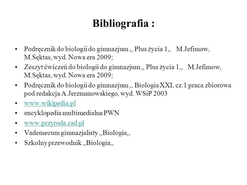 Bibliografia : Podręcznik do biologii do gimnazjum,, Plus życia 1,, M.Jefimow, M.Sęktas, wyd.
