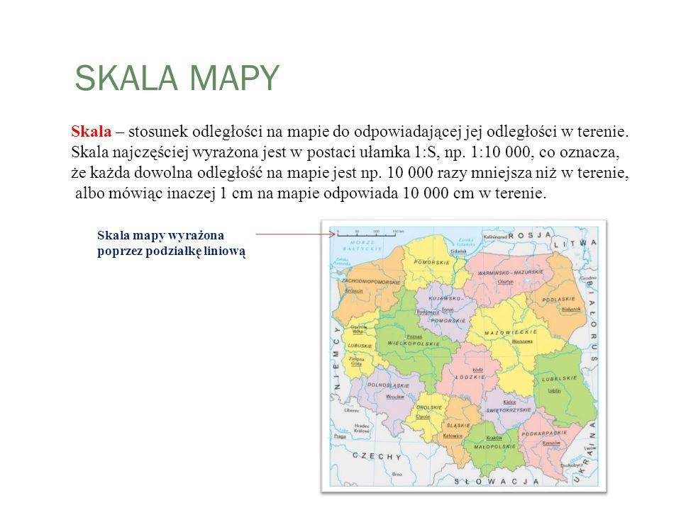 SKALA MAPY Skala – stosunek odległości na mapie do odpowiadającej jej odległości w terenie. Skala najczęściej wyrażona jest w postaci ułamka 1:S, np.