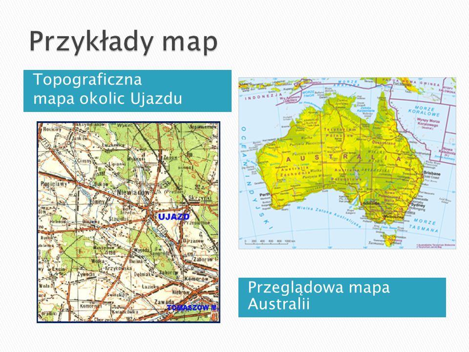Topograficzna mapa okolic Ujazdu Przeglądowa mapa Australii
