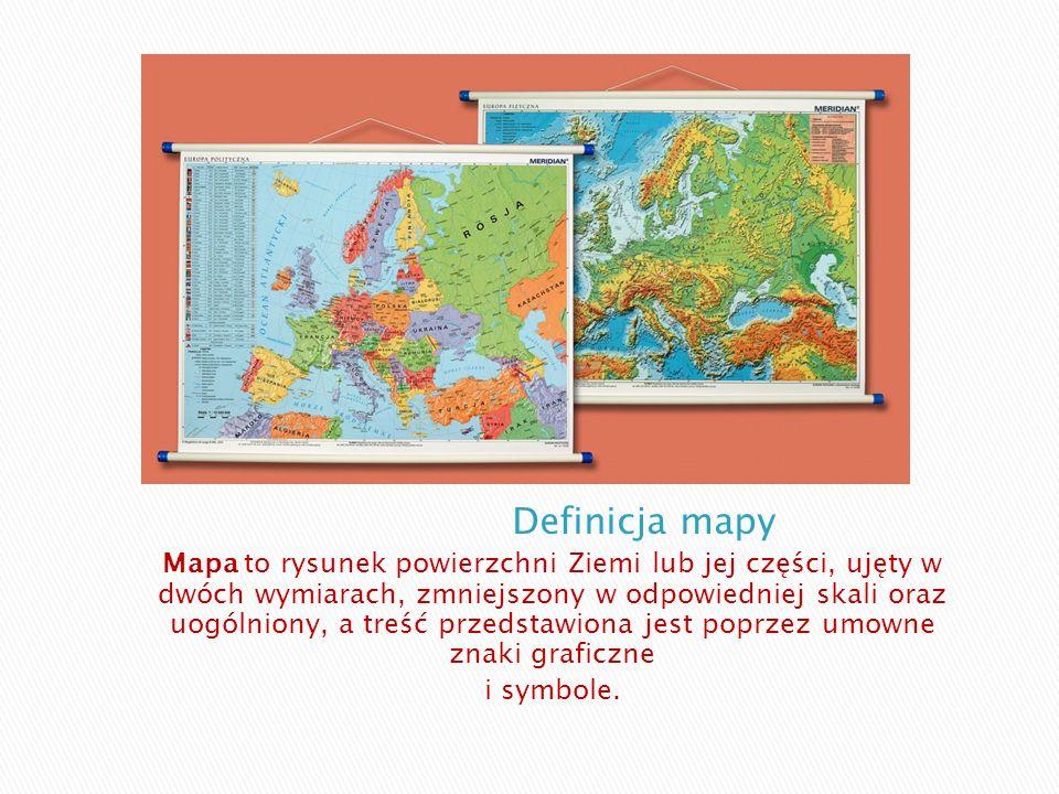 Mapa to rysunek powierzchni Ziemi lub jej części, ujęty w dwóch wymiarach, zmniejszony w odpowiedniej skali oraz uogólniony, a treść przedstawiona jes
