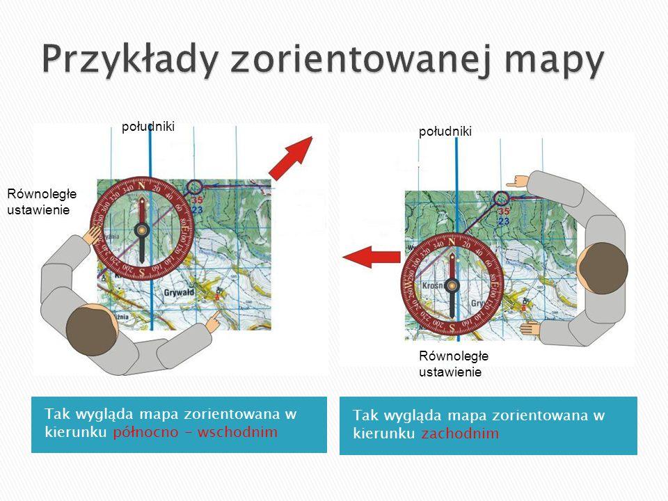 Tak wygląda mapa zorientowana w kierunku północno - wschodnim Tak wygląda mapa zorientowana w kierunku zachodnim południki Równoległe ustawienie połud