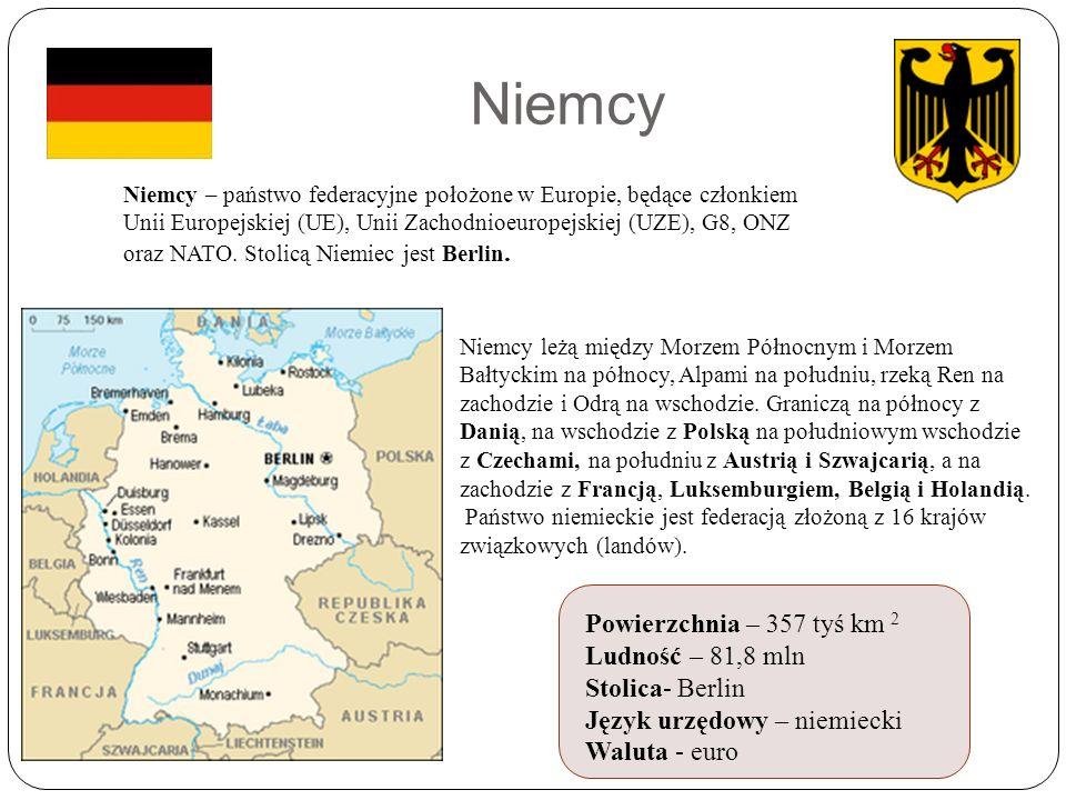 Niemcy Niemcy leżą między Morzem Północnym i Morzem Bałtyckim na północy, Alpami na południu, rzeką Ren na zachodzie i Odrą na wschodzie.