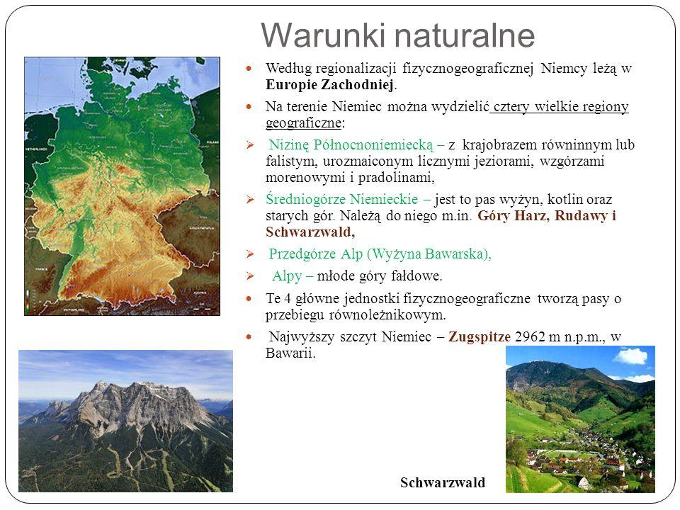 Warunki naturalne Według regionalizacji fizycznogeograficznej Niemcy leżą w Europie Zachodniej.