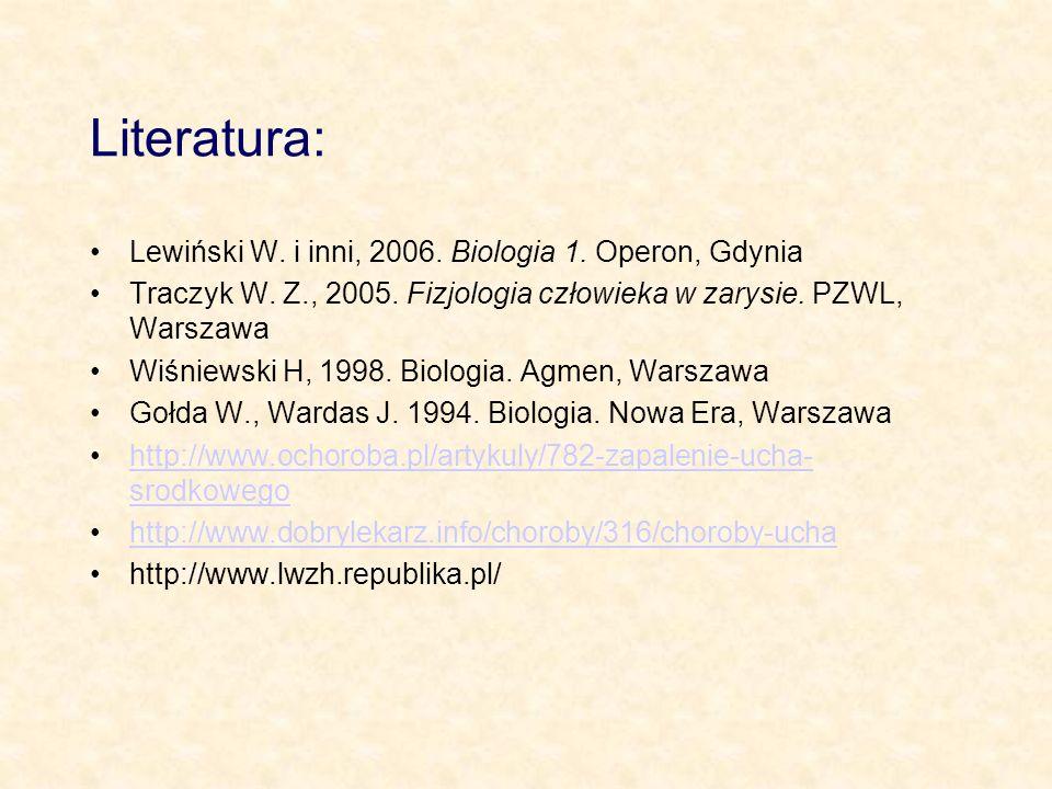 Literatura: Lewiński W. i inni, 2006. Biologia 1. Operon, Gdynia Traczyk W. Z., 2005. Fizjologia człowieka w zarysie. PZWL, Warszawa Wiśniewski H, 199
