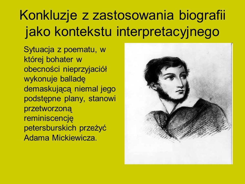 Konkluzje z zastosowania biografii jako kontekstu interpretacyjnego Sytuacja z poematu, w której bohater w obecności nieprzyjaciół wykonuje balladę de