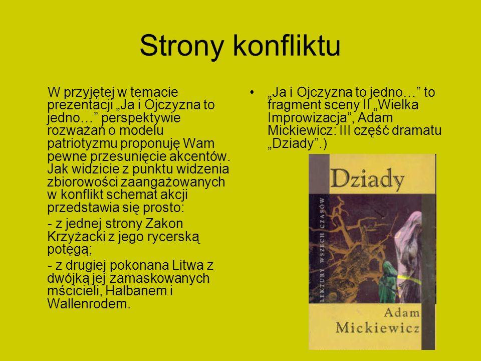 Relacja Halban – Konrad Halban - apologeta pieśni gminnej i Konrad – jej przyszły bohater stoją w jednym szeregu.