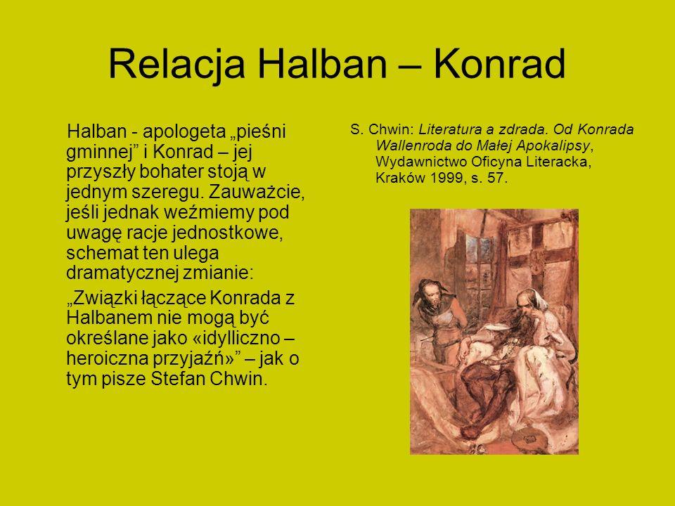 Relacja Halban – Konrad Halban - apologeta pieśni gminnej i Konrad – jej przyszły bohater stoją w jednym szeregu. Zauważcie, jeśli jednak weźmiemy pod
