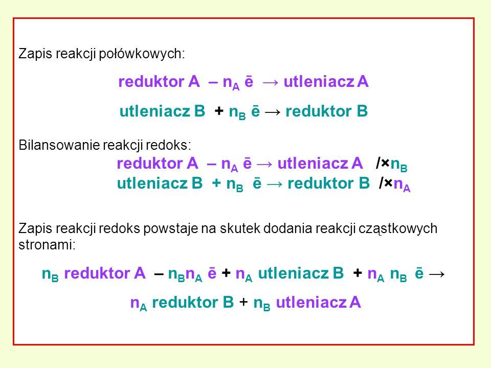 Zapis reakcji połówkowych: reduktor A – n A ē utleniacz A utleniacz B + n B ē reduktor B Bilansowanie reakcji redoks: reduktor A – n A ē utleniacz A /