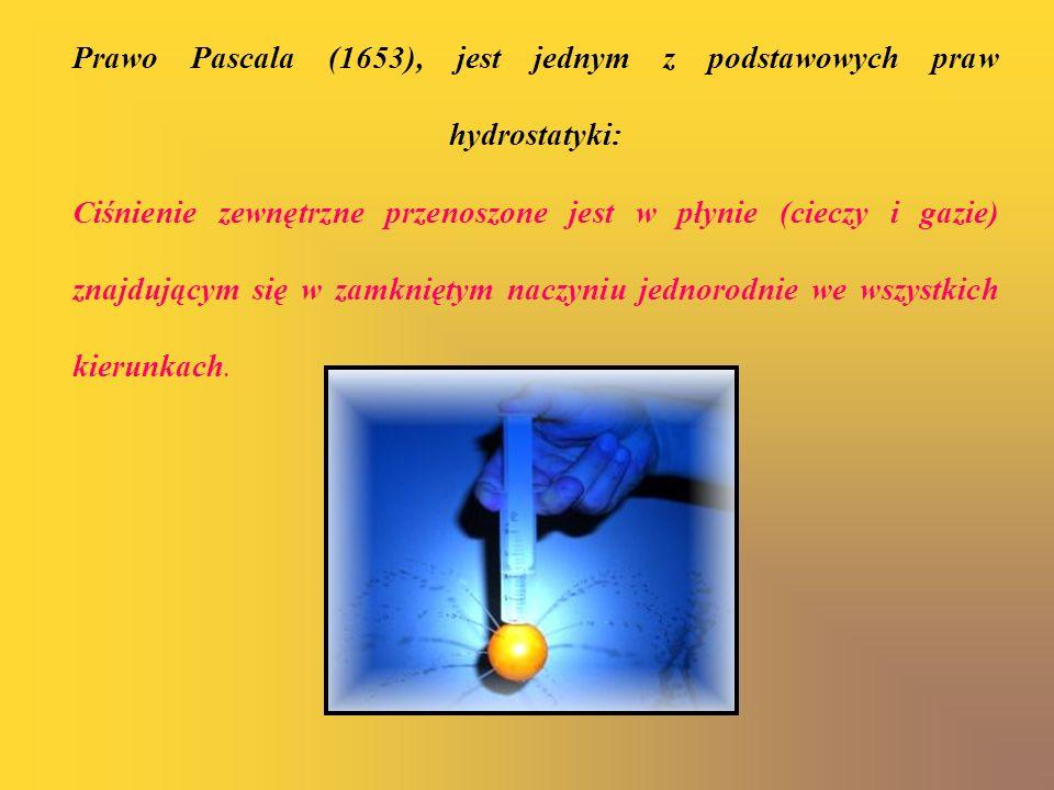 Prawo Pascala (1653), jest jednym z podstawowych praw hydrostatyki: Ciśnienie zewnętrzne przenoszone jest w płynie (cieczy i gazie) znajdującym się w