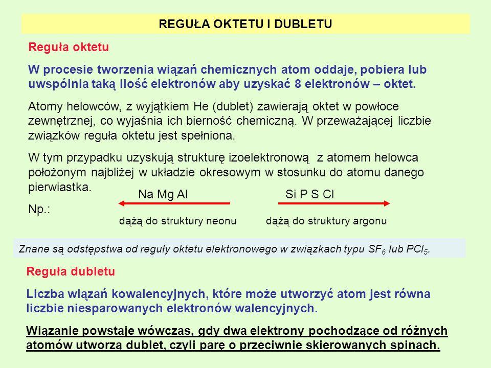 REGUŁA OKTETU I DUBLETU Reguła oktetu W procesie tworzenia wiązań chemicznych atom oddaje, pobiera lub uwspólnia taką ilość elektronów aby uzyskać 8 e