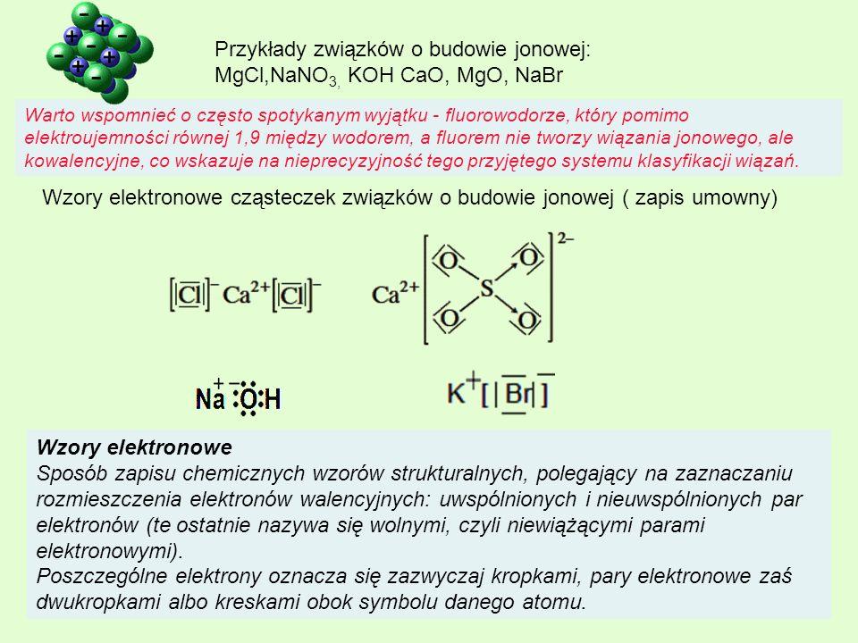 Wzory elektronowe Sposób zapisu chemicznych wzorów strukturalnych, polegający na zaznaczaniu rozmieszczenia elektronów walencyjnych: uwspólnionych i n