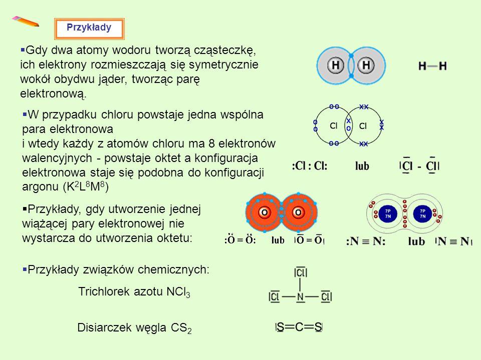 Przykłady Gdy dwa atomy wodoru tworzą cząsteczkę, ich elektrony rozmieszczają się symetrycznie wokół obydwu jąder, tworząc parę elektronową. W przypad