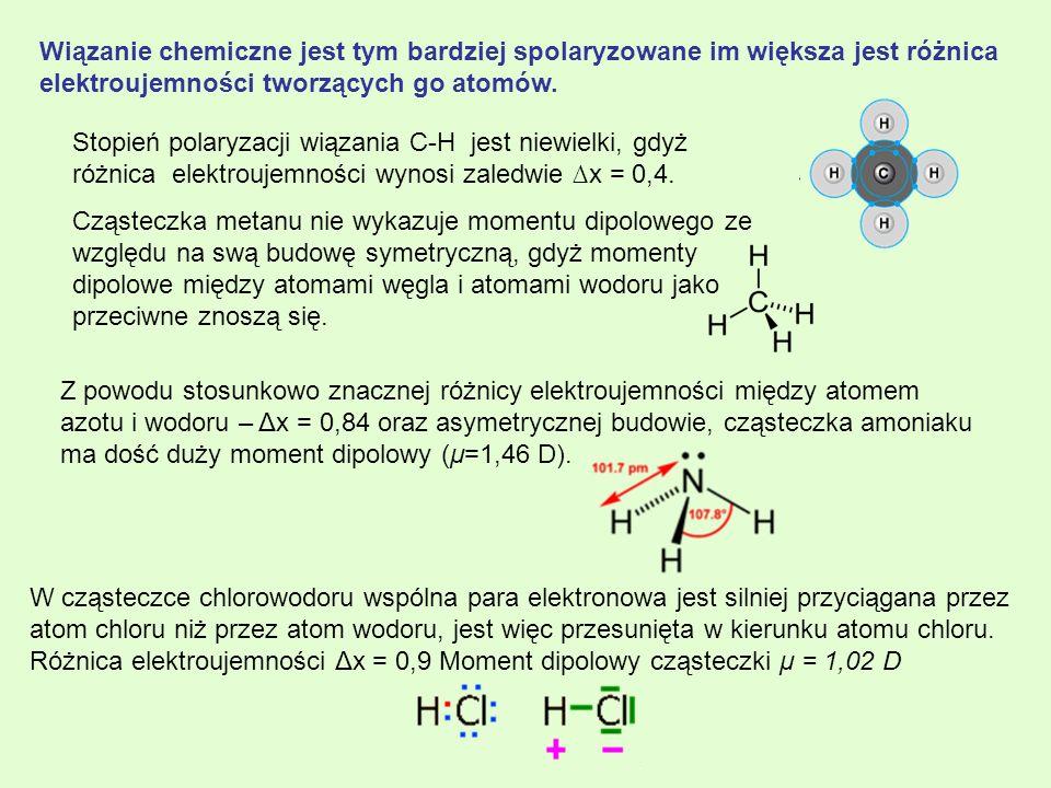 Wiązanie chemiczne jest tym bardziej spolaryzowane im większa jest różnica elektroujemności tworzących go atomów. Stopień polaryzacji wiązania C-H jes