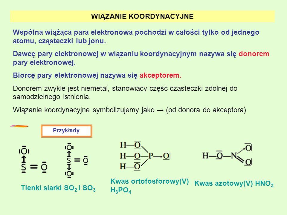 WIĄZANIE KOORDYNACYJNE Wspólna wiążąca para elektronowa pochodzi w całości tylko od jednego atomu, cząsteczki lub jonu. Dawcę pary elektronowej w wiąz