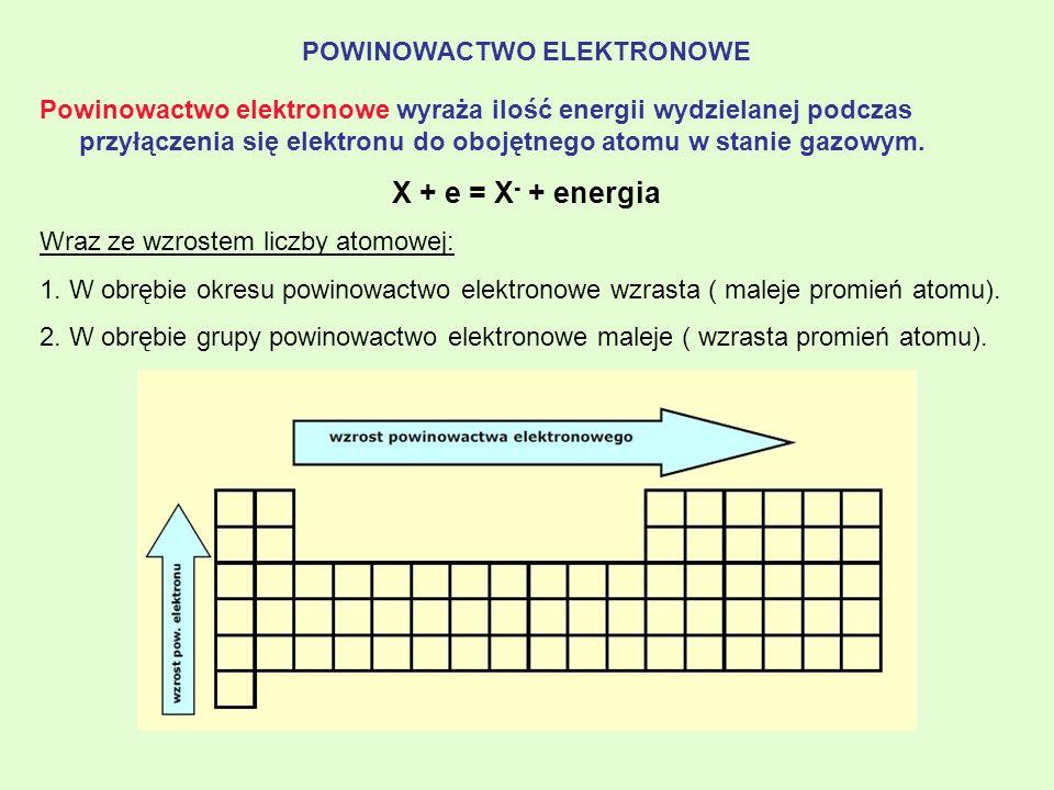 POWINOWACTWO ELEKTRONOWE Powinowactwo elektronowe wyraża ilość energii wydzielanej podczas przyłączenia się elektronu do obojętnego atomu w stanie gaz