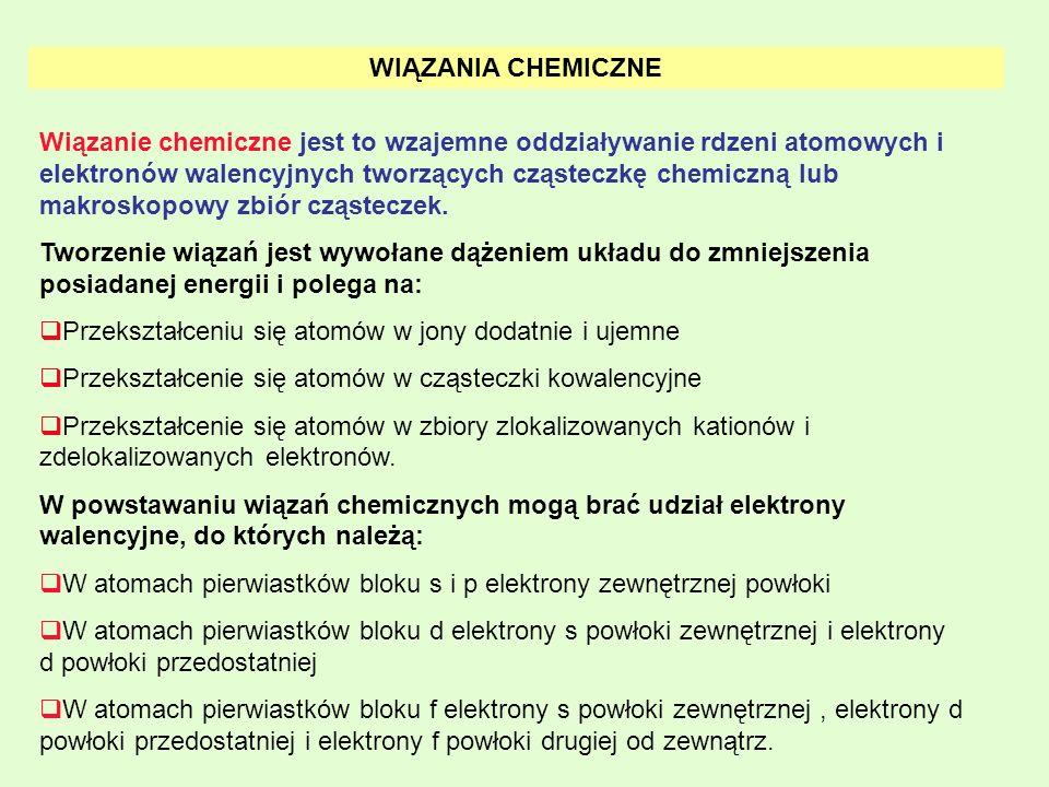 WIĄZANIA CHEMICZNE Wiązanie chemiczne jest to wzajemne oddziaływanie rdzeni atomowych i elektronów walencyjnych tworzących cząsteczkę chemiczną lub ma