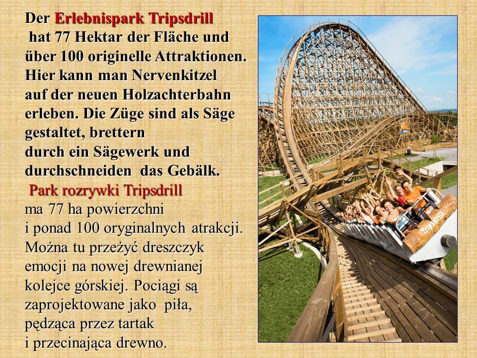 Der Erlebnispark Tripsdrill hat 77 Hektar der Fläche und über 100 originelle Attraktionen. Hier kann man Nervenkitzel auf der neuen Holzachterbahn erl
