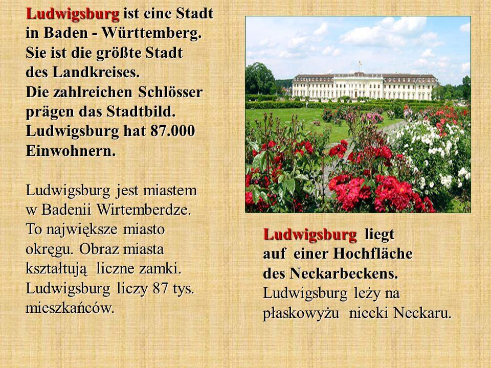 Ludwigsburg ist eine Stadt in Baden - Württemberg. Sie ist die größte Stadt des Landkreises. Die zahlreichen Schlösser prägen das Stadtbild. Ludwigsbu