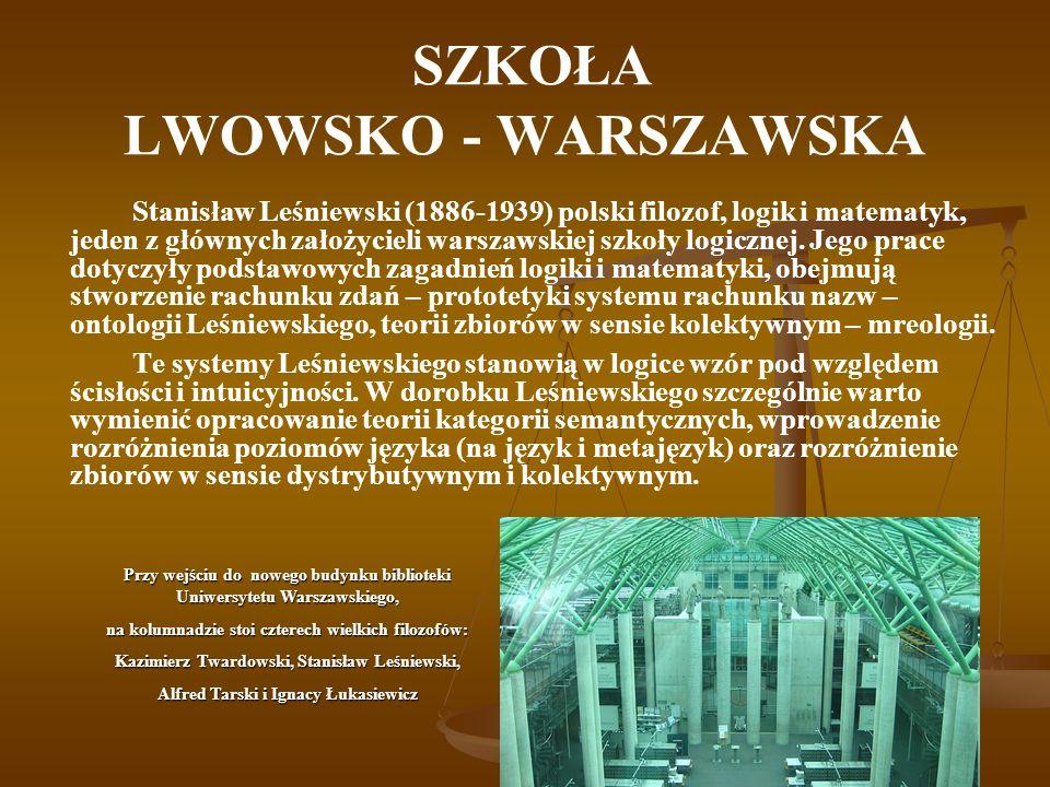 SZKOŁA LWOWSKO - WARSZAWSKA Stanisław Leśniewski (1886-1939) polski filozof, logik i matematyk, jeden z głównych założycieli warszawskiej szkoły logic