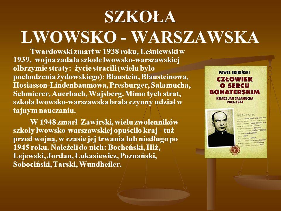 SZKOŁA LWOWSKO - WARSZAWSKA Twardowski zmarł w 1938 roku, Leśniewski w 1939, wojna zadała szkole lwowsko-warszawskiej olbrzymie straty: życie stracili