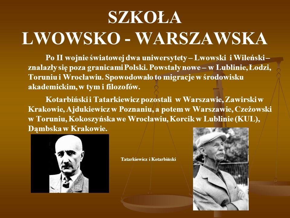 SZKOŁA LWOWSKO - WARSZAWSKA Po II wojnie światowej dwa uniwersytety – Lwowski i Wileński – znalazły się poza granicami Polski. Powstały nowe – w Lubli