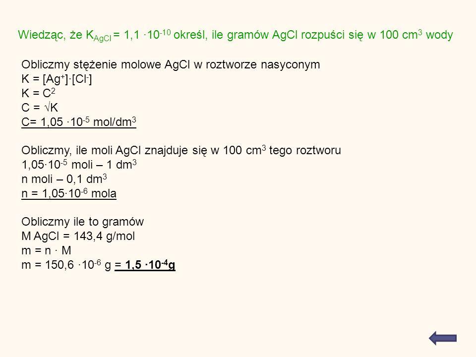 Wiedząc, że K AgCl = 1,1 10 -10 określ, ile gramów AgCl rozpuści się w 100 cm 3 wody Obliczmy stężenie molowe AgCl w roztworze nasyconym K = [Ag + ][Cl - ] K = C 2 C = K C= 1,05 10 -5 mol/dm 3 Obliczmy, ile moli AgCl znajduje się w 100 cm 3 tego roztworu 1,0510 -5 moli – 1 dm 3 n moli – 0,1 dm 3 n = 1,0510 -6 mola Obliczmy ile to gramów M AgCl = 143,4 g/mol m = n M m = 150,6 10 -6 g = 1,5 10 -4 g