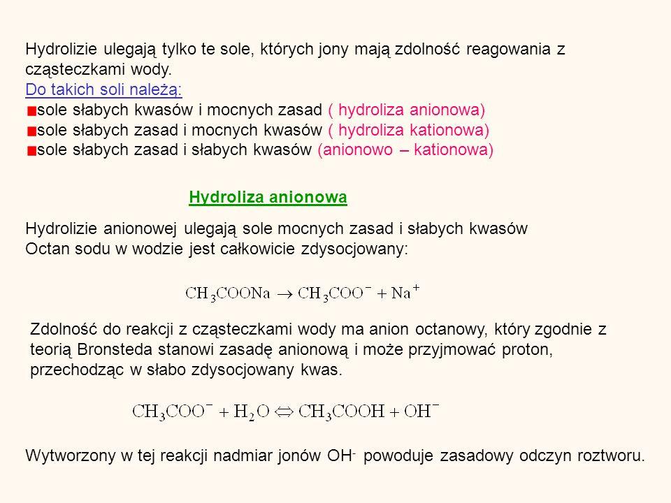Hydrolizie ulegają tylko te sole, których jony mają zdolność reagowania z cząsteczkami wody.