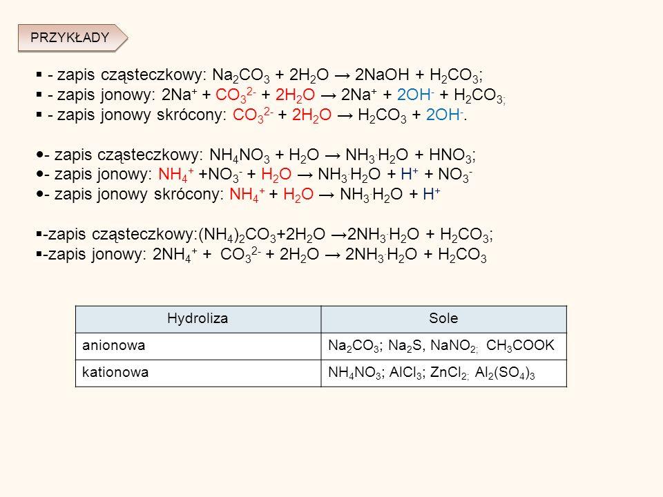 - zapis cząsteczkowy: Na 2 CO 3 + 2H 2 O 2NaOH + H 2 CO 3 ; - zapis jonowy: 2Na + + CO 3 2- + 2H 2 O 2Na + + 2OH - + H 2 CO 3; - zapis jonowy skrócony: CO 3 2- + 2H 2 O H 2 CO 3 + 2OH -.