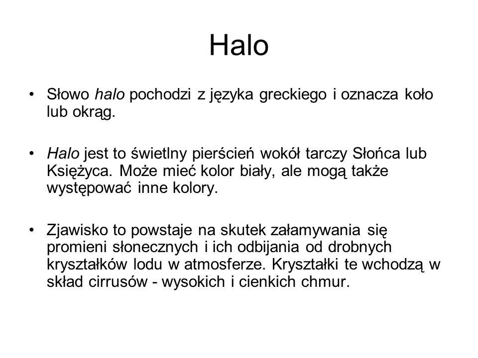 Halo Słowo halo pochodzi z języka greckiego i oznacza koło lub okrąg. Halo jest to świetlny pierścień wokół tarczy Słońca lub Księżyca. Może mieć kolo