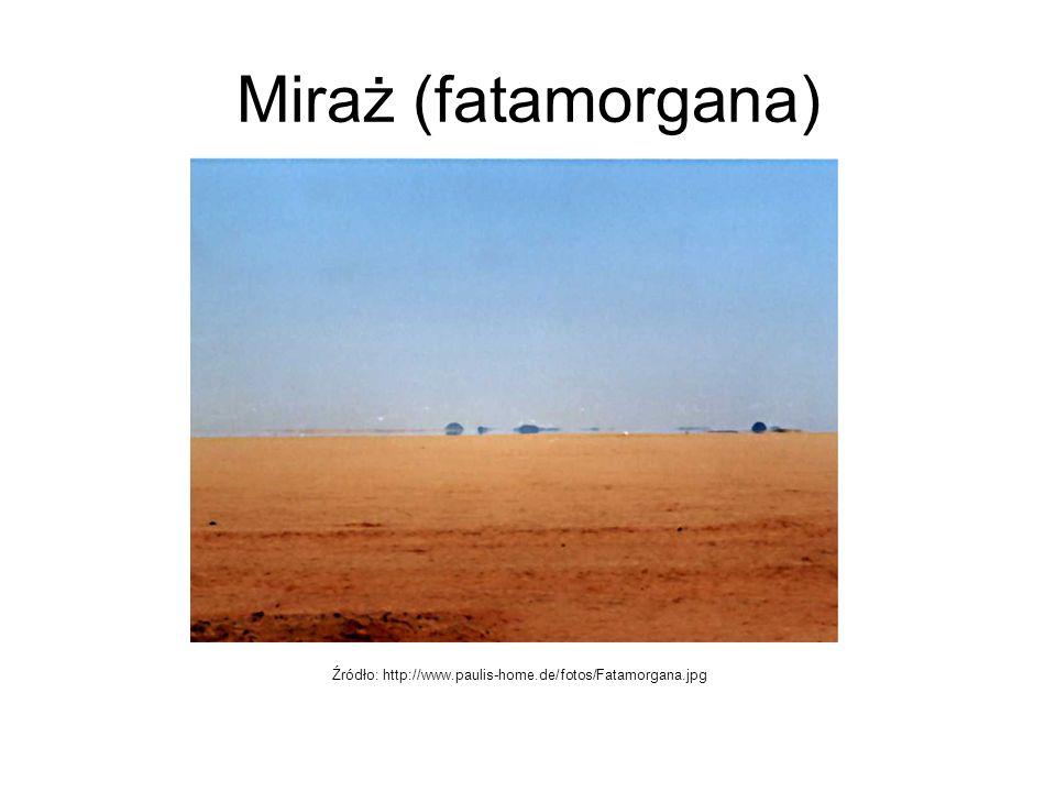 Miraż (fatamorgana) Źródło: http://www.paulis-home.de/fotos/Fatamorgana.jpg
