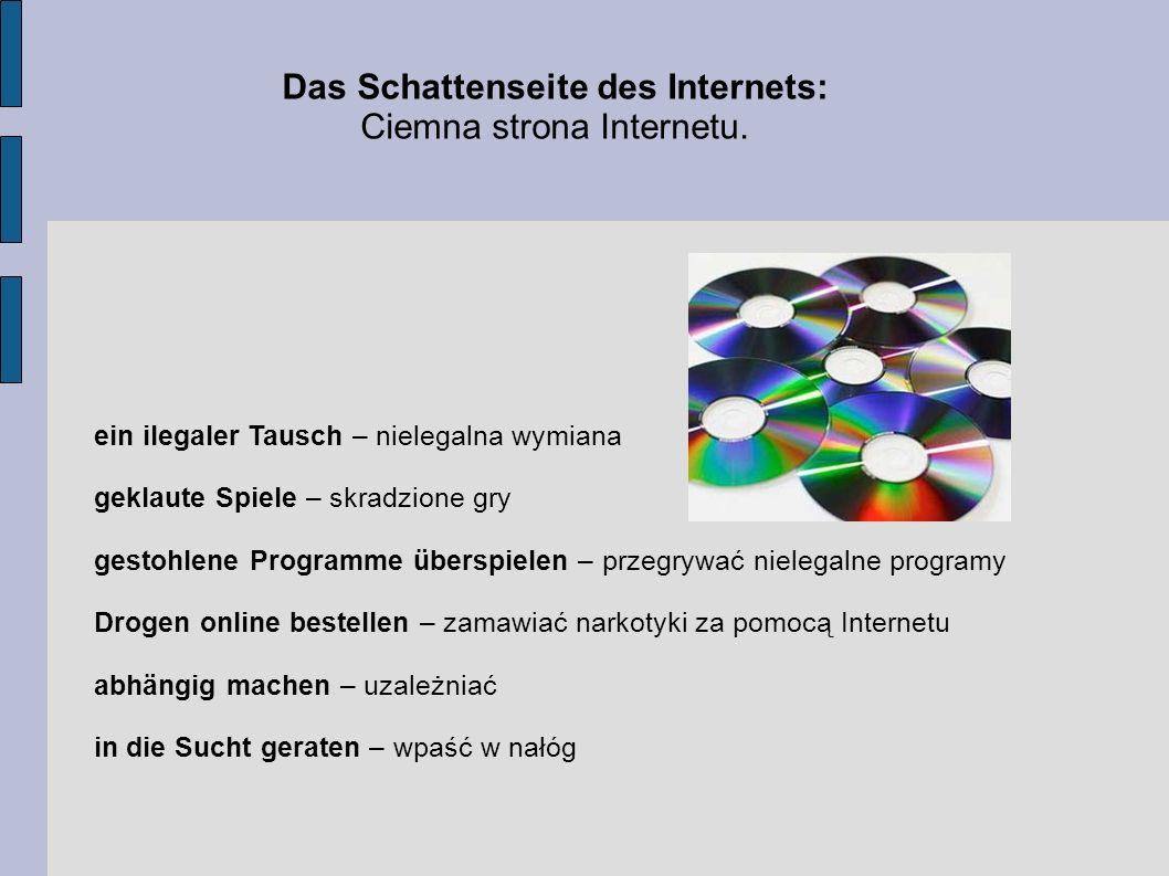 Słówka związane z komputerem: der Personalcomputer – komputer osobisty das Computerprogramm – program komputerowy die Diskette – dyskietka die Taste – klawisz die Tastatur – klawiatura die CD-ROM – płyta CD-ROM der Lautsprecher – głośnik das Modem – modem die Maus – myszka der Drucker – drukarka die Datei – plik das Netz – sieć (Internet) der Internet - Zugang - dostęp do Internetu