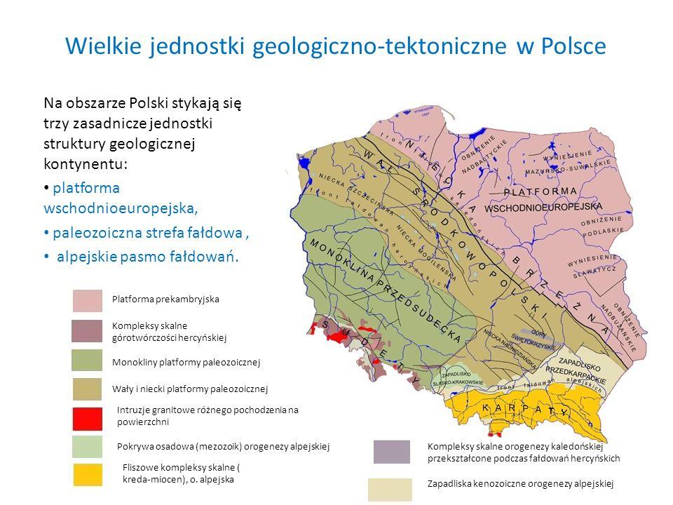 Wielkie jednostki geologiczno-tektoniczne w Polsce Na obszarze Polski stykają się trzy zasadnicze jednostki struktury geologicznej kontynentu: platfor