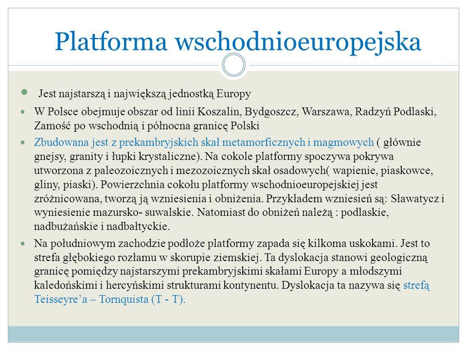 Platforma wschodnioeuropejska Jest najstarszą i największą jednostką Europy W Polsce obejmuje obszar od linii Koszalin, Bydgoszcz, Warszawa, Radzyń Po