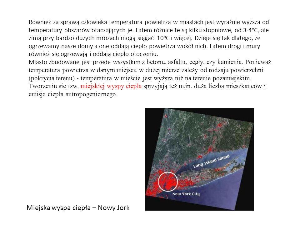 Również za sprawą człowieka temperatura powietrza w miastach jest wyraźnie wyższa od temperatury obszarów otaczających je. Latem różnice te są kilku s