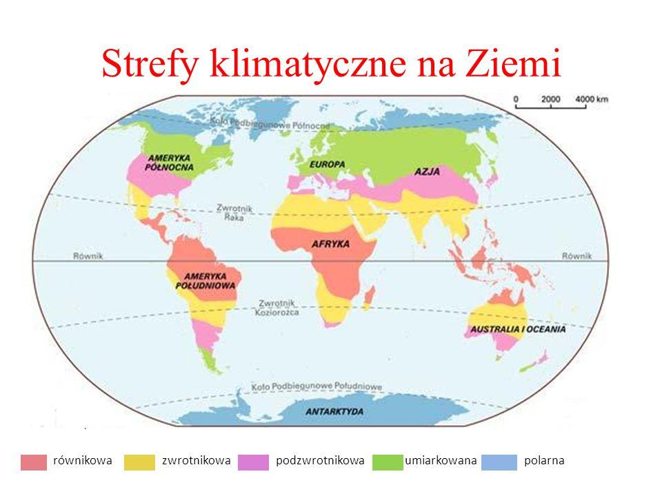 Strefy klimatyczne na Ziemi równikowa podzwrotnikowa równikowazwrotnikowapodzwrotnikowaumiarkowanapolarna