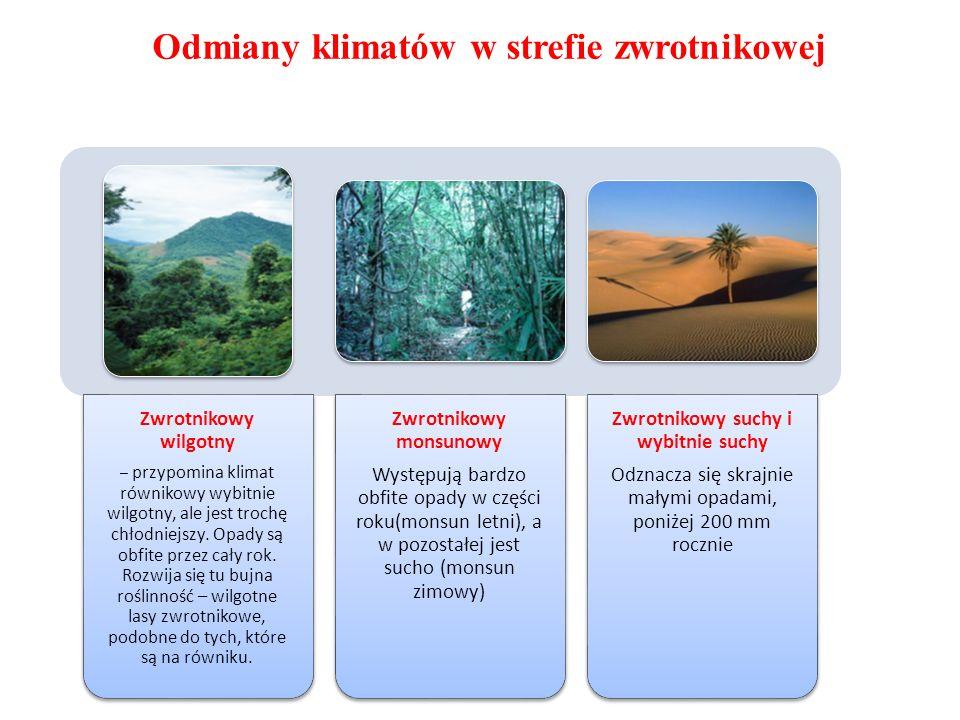 Odmiany klimatów w strefie zwrotnikowej Zwrotnikowy wilgotny – przypomina klimat równikowy wybitnie wilgotny, ale jest trochę chłodniejszy. Opady są o