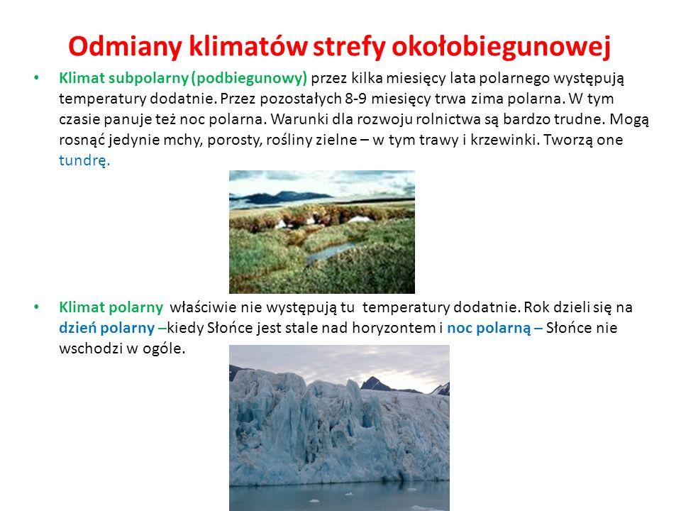 Odmiany klimatów strefy okołobiegunowej Klimat subpolarny (podbiegunowy) przez kilka miesięcy lata polarnego występują temperatury dodatnie. Przez poz